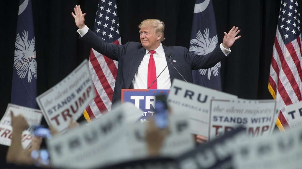 MYRTLE BEACH, SC - FEBRUARY 19: Republican presidential candidate Donald Trump speaks at a rally February 19, 2016 in Myrtle Beach, South Carolina. Trump is campaigning throughout South Carolina ahead of the state's primary.  (Photo by Aaron P. Bernstein/Getty Images)