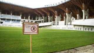 Felcsút, 2014. február 27.Az elkészült füves játéktér az épülő felcsúti labdarúgó-stadionban 2014. február 27-én.MTI Fotó: Koszticsák Szilárd