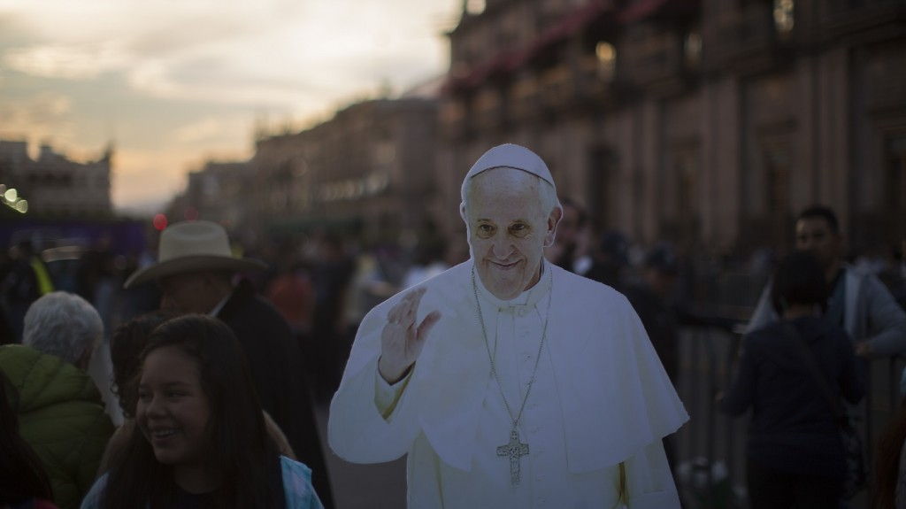 MORELIA, MEXICO - FEBRUARY 15: A Pope Francis cut out is seen at the downtown of Morelia on February 15, 2016 in Morelia, Mexico. On Tuesday, Pope Francis will travel to Michoacan State (Photo by Hector Vivas/LatinContent/Getty Images)