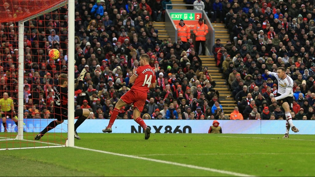 LIVERPOOL, ENGLAND - JANUARY 17: Wayne Rooney of Man Utd scores their 1st goal during the Barclays Premier League match between Liverpool and Manchester United at Anfield on January 17, 2016 in Liverpool, England. (Photo by Simon Stacpoole/Mark Leech Sports Photography/Getty Images)