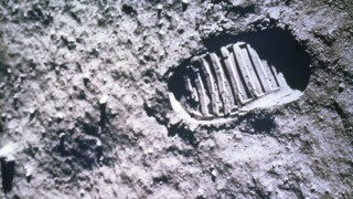 Astronaut Footprint on the Moon   Apollo 11 Mission  July 20, 1969