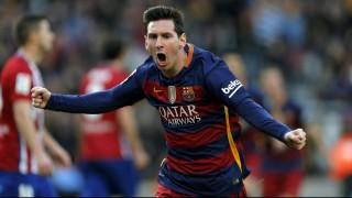 Barcelona, 2016. január 31. Lionel Messi, a Barcelona csatára, miután gólt szerzett az Atlético Madrid ellen a spanyol elsõ osztályú labdarúgó-bajnokság 2016. január 30-i mérkõzésén a barcelonai Camp Nou Stadionban. (MTI/EPA/Alejandro García)