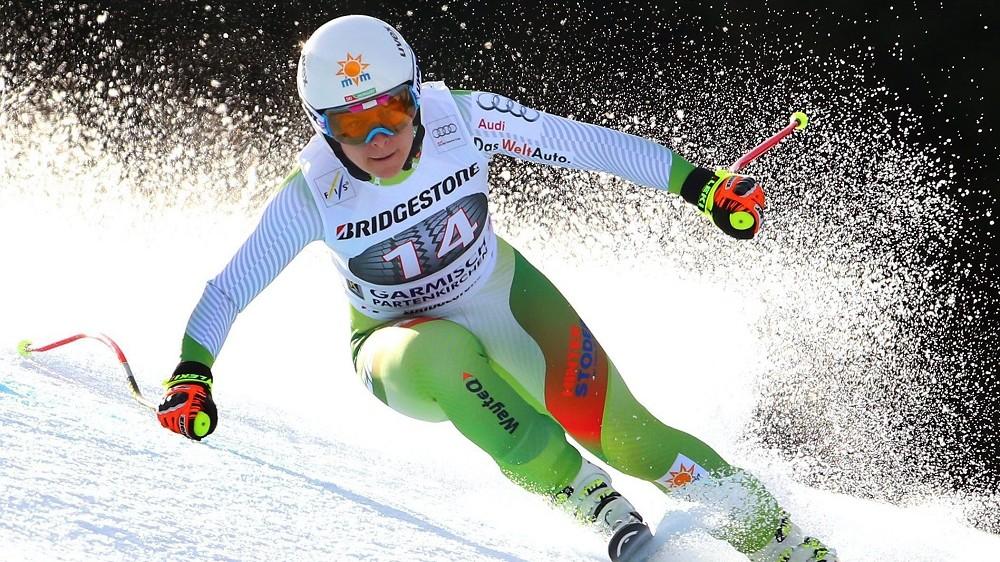 Garmisch-Partenkirchen, 2016. február 6. Miklós Edit a nõi alpesi sízõk világkupa-sorozatának garmisch-partenkircheni lesiklóversenyében 2016. február 6-án. (MTI/EPA/Karl-Josef Hildenbrand)