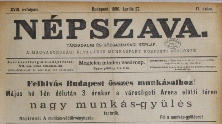 Népszava 1890-ből