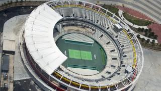 "Aerial view of Tennis Arena in the Olympic Village in Rio de Janeiro, Brazil, on February 3, 2016.  AFP PHOTO/VANDERLEI ALMEIDAStadiun Olimpic better known as ""Engenhăo"" / AFP / VANDERLEI ALMEIDA"