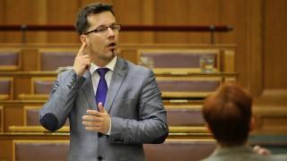 Budapest, 2015. március 19. Tapolczai Gergely siket képviselõ, a Fidesz vezérszónoka jelnyelven szólal fel az Országos Fogyatékosságügyi Programról szóló javaslat vitájában az Országgyûlés plenáris ülésén 2015. március 19-én. MTI Fotó: Kovács Attila