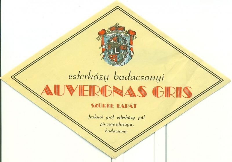 Rombusz alakú, sárga hátterű, fekete keretes hascímke. Középen az Esterházy család címere, alatta fekete és piros feliratok: Esterházy badacsonyi Kéknyelü Fraknói Gróf Esterházy Pál pincegazdasága, Badacsony.