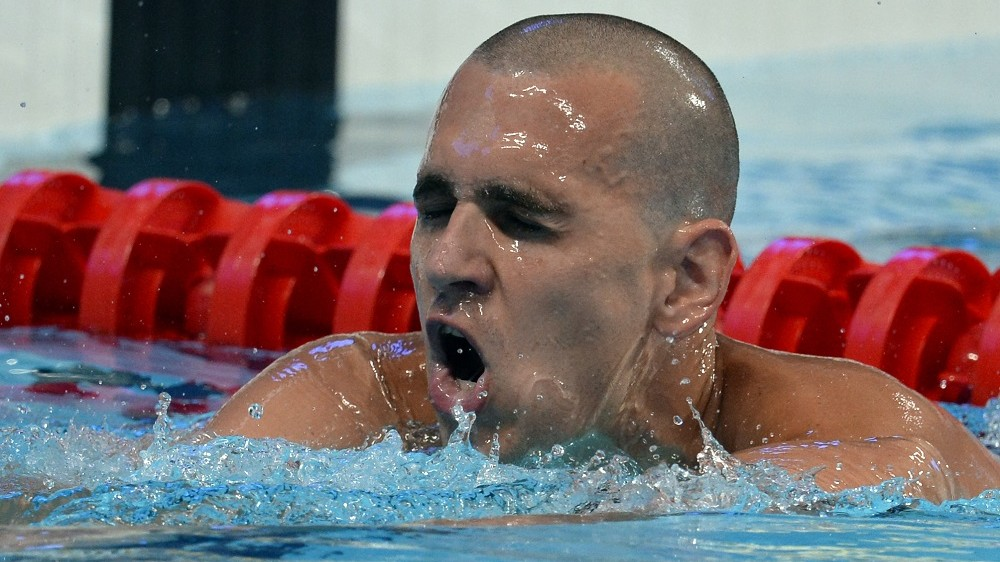 Hungary's Laszlo Cseh reacts after winning the final of the men's 200m butterfly swimming event at the 2015 FINA World Championships in Kazan on August 5, 2015.    AFP PHOTO / ALEXANDER NEMENOV / AFP / ALEXANDER NEMENOV