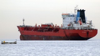 """Dutch-flagged oil tanker """"Alessandro DP"""" is seen anchored off the Black Sea port of Varna on November 30, 2010. The Karim 1, which was sailing with a Sierra Leone flag, sank on November 29 when it collided with a Dutch tanker, 10 nautical miles (18.5 kilometres) off Cape Emine. Five crew, most probably Syrian, were still missing a day after their ship collided with another vessel and sank in the Black Sea off Bulgaria, the transport ministry said.      AFP PHOTO / BGNES / AFP / BGNES / BGNES"""