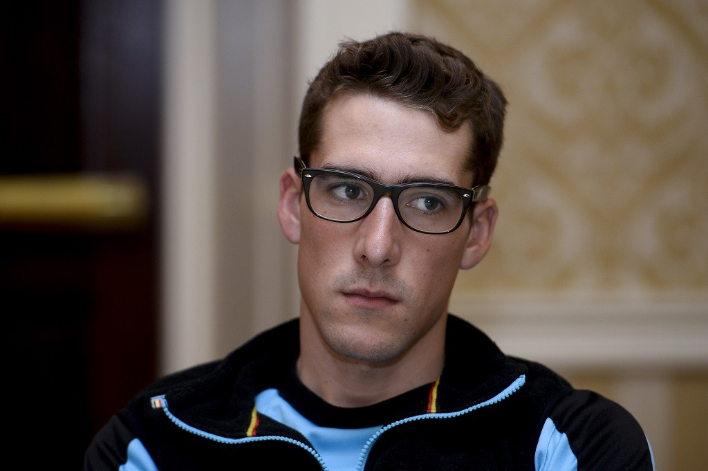 20150924 - RICHMOND, UNITED STATES: Belgian Daan Myngheer pictured during a press conference at the UCI Road World Cycling championships in Richmond, Virginia, The United States, Thursday 24 September 2015. BELGA PHOTO DIRK WAEM