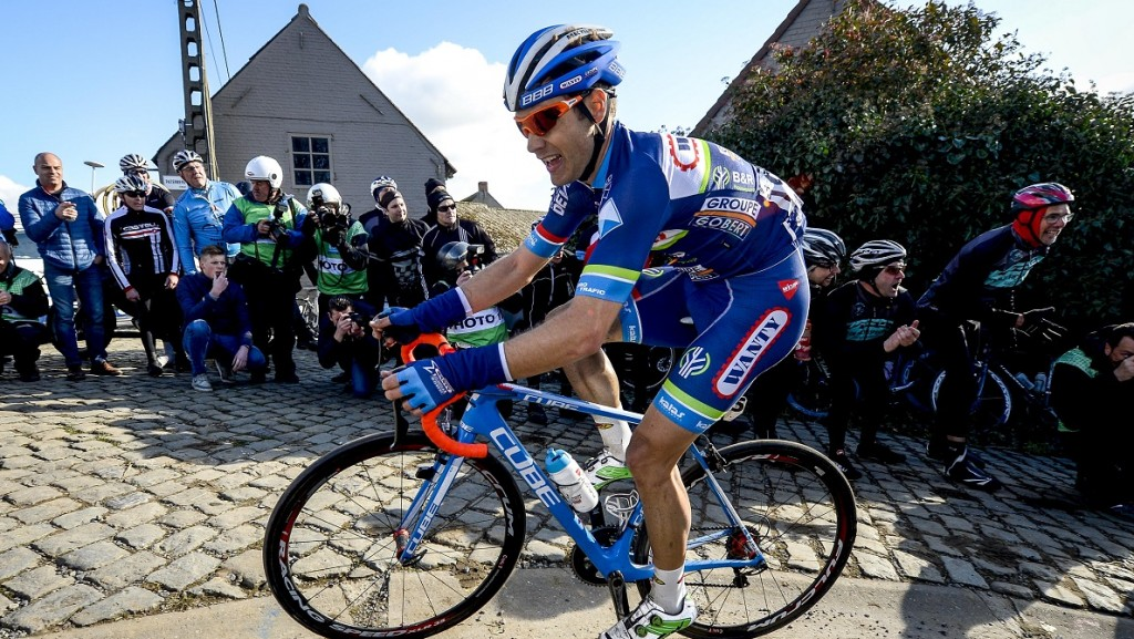 Belgian Antoine Demoitie of Wanty-Groupe Gobert pictured in action during the 59th edition of the 'E3 Prijs Vlaanderen Harelbeke' cycling race, 215,3km from and to Harelbeke, Friday 25 March 2016. BELGA PHOTO DIRK WAEM