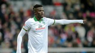 Bremen's  Papy Djilobodji in action during the German Bundesliga soccer match between FC Bayern Munich and Werder Bremen at the Allianz Arena in Munich, Germany, 12 March 2016. PHOTO: Thomas Eisenhuth/dpa - NOWIRESERVICE -