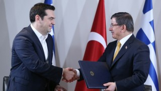 IZMIR, TURKEY - MARCH 08: Turkish Prime Minister Ahmet Davutoglu (R) and Greek Prime Minister Alexis Tsipras (L) hold a joint press conference at the end of the Fourth Meeting of High Level Cooperation Council in Izmir, Turkey on March 08, 2016.  Abdulhamid Hosbas / Anadolu Agency