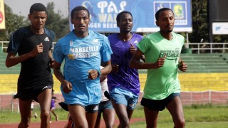 ADDIS ABABA, ETHIOPIA - AUGUST 15: Ethiopian athletes are seen during a training session at the Addis Ababa Stadium in Addis Ababa, Ethiopia on August 15, 2015 ahead of the International Association of Athletics Federations (IAAF) World Championships in Athletics which will be held in the Chinese capital Beijing on August 22 - 30. Minasse Wondimu Hailu / Anadolu Agency