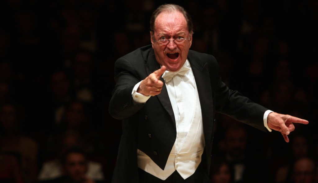 """Nikolaus Harnoncourt leading the Vienna Philharmonic Orchestra in Beethoven's """"Symphony No. 7 in A Major"""" at Carnegie Hall on Wednesday night, September 29, 2010.(Photo by Hiroyuki Ito/Getty Images)"""