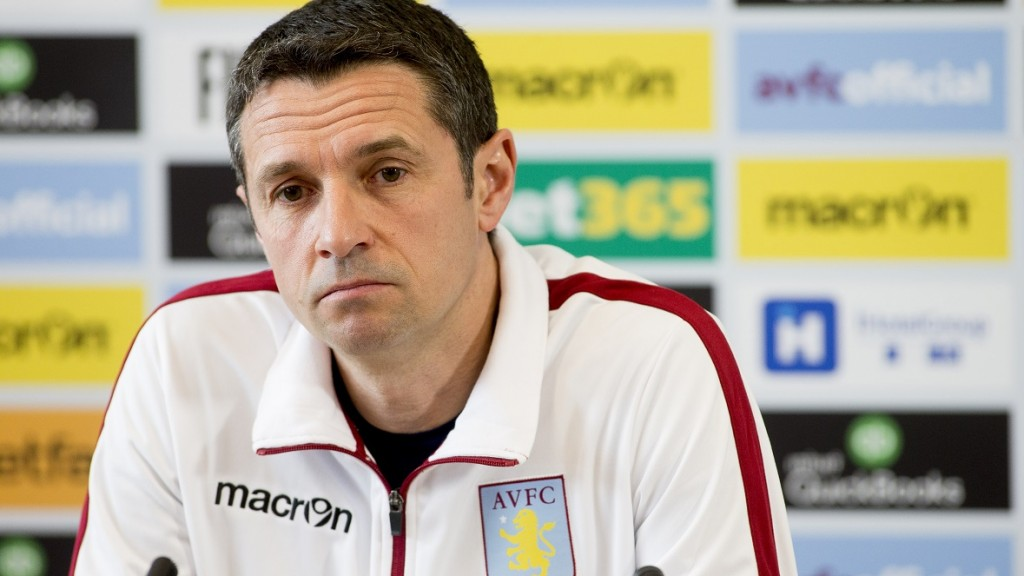 BIRMINGHAM, ENGLAND - MARCH 17 :  Remi Garde manager of Aston Villa talks to the press during a press conference at the club's training ground at Bodymoor Heath on March 17, 2016 in Birmingham, England. (Photo by Neville Williams/Aston Villa FC via Getty Images)
