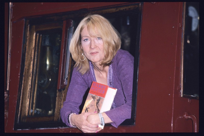 JK Rowling during Archive Images of JK Rowling at the launch of Harry Potter and The Goblet of Fire at King's Cross Station in London, Great Britain. (Photo by Fred Duval/FilmMagic)