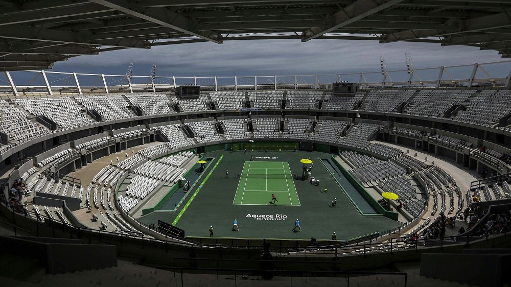 Rio de Janeiro, 2015. december 11. A 2016-os Rio de Janeiró-i olimpia teniszstadionja a brazíliai nagyváros Olimpiai Parkjában 2015. december 11-én. (MTI/EPA/Antonio Lacerda)