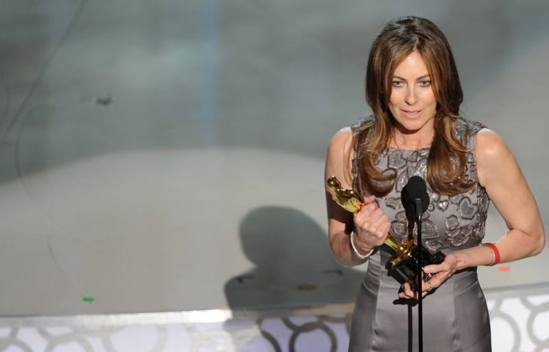"""Winner for Best Director Kathryn Bigelow for """"The Hurt Locker"""" gives her acceptance speech at the 82nd Academy Awards at the Kodak Theater in Hollywood, California on March 07, 2010. AFP PHOTO/ Gabriel BOUYS / AFP / GABRIEL BOUYS"""