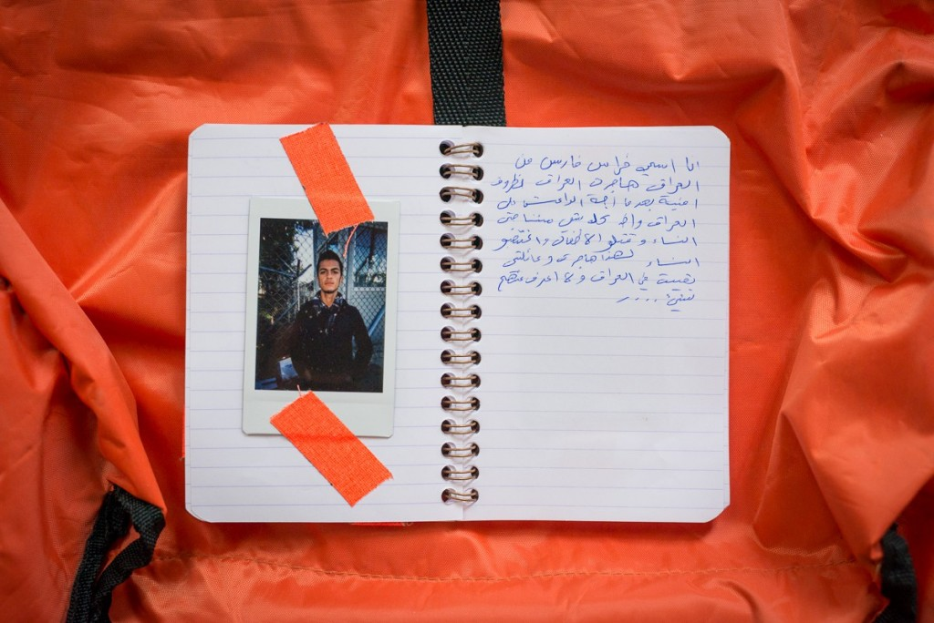 Firas received his camera on Dec 10, 2015 in Moria, the registration camp on Lesbos. Firas is from Iraq a flee from ISIS/ Daesh after they invaded his city. He wrote, that ISIS took everything from them, even their women. They raped them and killed the children. His family is still in Iraq and he had to cross Turkey illegaly, because he lost his passport and belongs to a Yazidi minority. Firas lives in Hildesheim, Germany today.