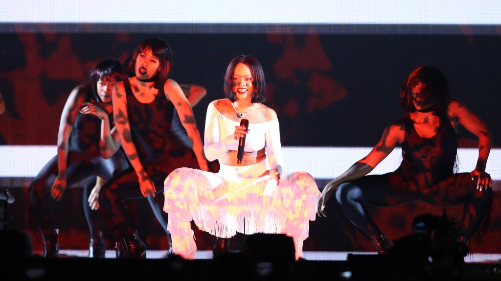 Singer Rihanna performs during the BRIT Awards 2016 in London on February 24, 2016. / AFP / JUSTIN TALLIS / RESTRICTED TO EDITORIAL USE, TO ILLUSTRATE THE EVENT AS SPECIFIED IN THE CAPTION – NO POSTERS – NO USE IN MONOGRAPHS
