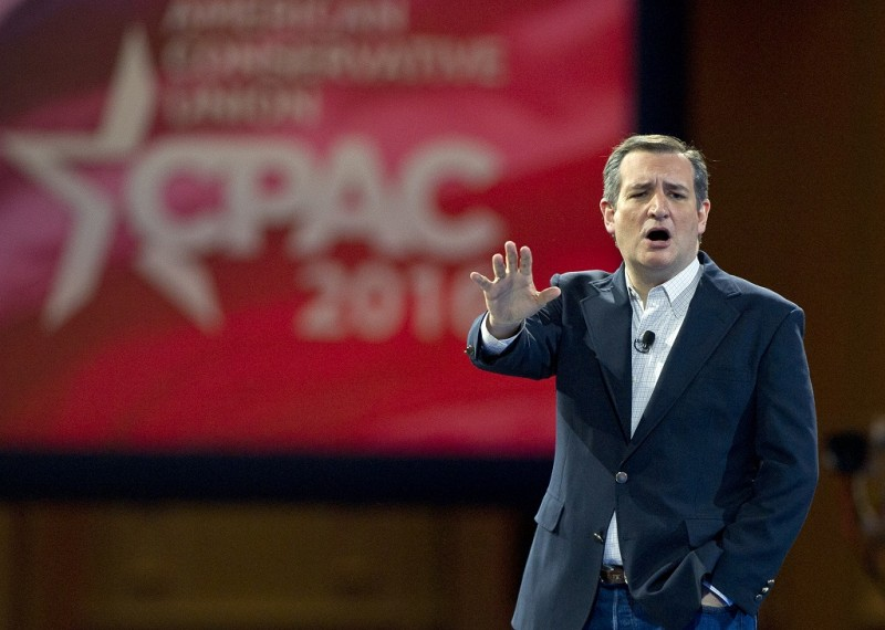 United States Senator Ted Cruz (Republican of Texas), a candidate for the Republican Party nomination for President of the United States, speaks at the Conservative Political Action Conference (CPAC) at the Gaylord National Resort and Convention Center in National Harbor, Maryland on Friday, March 4, 2016. Credit: Ron Sachs / CNP - NO WIRE SERVICE -