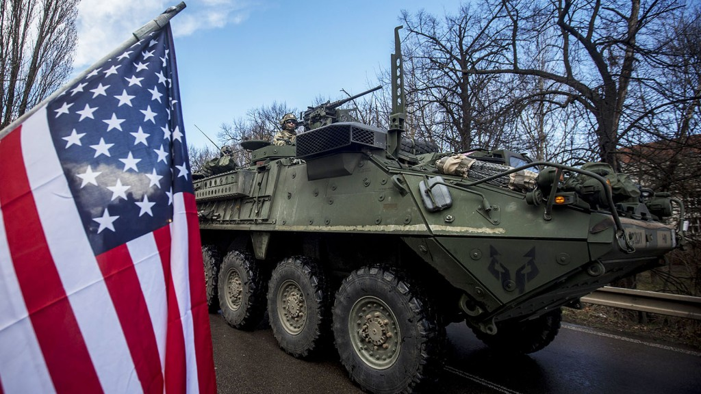 PRAGUE, CZECH REPUBLIC - MARCH 30:  U.S. soldiers of the 3rd Squadron, 2nd Cavalry Regiment of the US Army arrive to Czech army barracks on March 30, 2015 in Prague, Czech Republic. U.S. soldiers are travelling in the 'Dragoon Ride' convoy from Estonia to their home base in Vilseck, Bavaria, Germany. The soldiers have been taking part in an Atlantic Resolve exercises in the Baltic countries, designed to show that NATO is prepared to defend its members and launched last year in response to Russia's aggression in the Ukraine.  (Photo by Matej Divizna/Getty Images)