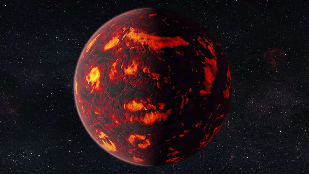"""A handout photo taken on February 12, 2016 and released on February 16, 2016 by the European Space Agency shows an artist's impression of the exoplanet 55 Cancri e as close-up. Due to its proximity to its parent star, the temperatures on the surface of the planet are thought to reach about 2000 degrees Celsius. Scientists were able to analyze the atmosphere of 55 Cancri e. It was the first time this was possible for a super-Earth exoplanet. / AFP / ESA/Hubble / M. KORNMESSER / RESTRICTED TO EDITORIAL USE - MANDATORY CREDIT """"AFP PHOTO / ESA/HUBBLE/ M. KORNMESSER"""" - NO MARKETING NO ADVERTISING CAMPAIGNS - DISTRIBUTED AS A SERVICE TO CLIENTS"""
