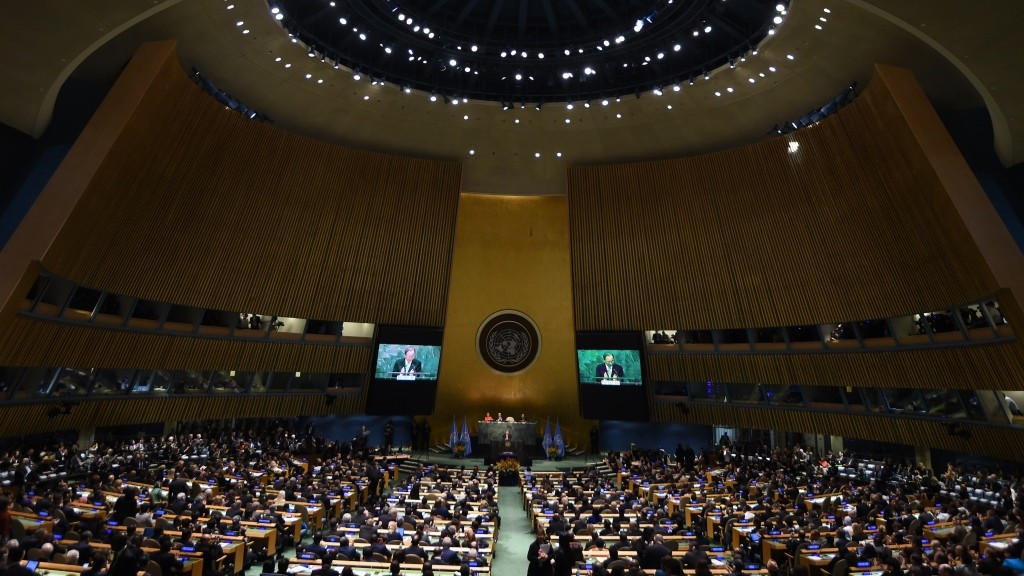 General view of the United Nations Opening Ceremony of the High-Level Event for the Signature of the Paris Agreement on April 22, 2016 in New York.  / AFP PHOTO / JEWEL SAMAD