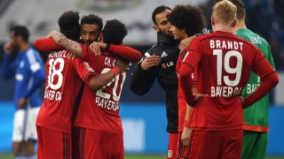 Leverkusen's players react after the German first division Bundesliga football match between Schalke 04 and Bayer 04 Leverkusen, in the Veltins-Arena in Gelsenkirchen, western Germany, on April 23, 2016.   / AFP PHOTO / PATRIK STOLLARZ / RESTRICTIONS: DURING MATCH TIME: DFL RULES TO LIMIT THE ONLINE USAGE TO 15 PICTURES PER MATCH AND FORBID IMAGE SEQUENCES TO SIMULATE VIDEO. == RESTRICTED TO EDITORIAL USE == FOR FURTHER QUERIES PLEASE CONTACT DFL DIRECTLY AT + 49 69 650050