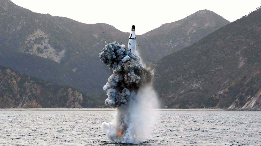 """This picture released from North Korea's official Korean Central News Agency (KCNA) on April 24, 2016 shows the underwater test-fire of a strategic submarine ballistic missile at an undisclosed location in North Korea on April 23, 2016. North Korean leader Kim Jong-Un hailed a submarine-launched ballistic missile (SLBM) test as an """"eye-opening success"""", state media said on April 24, declaring Pyongyang has the ability to strike Seoul and the US whenever it pleases.  / AFP PHOTO / KCNA VIA KNS / KCNA /  - South Korea OUT / REPUBLIC OF KOREA OUT   ---EDITORS NOTE--- RESTRICTED TO EDITORIAL USE - MANDATORY CREDIT """"AFP PHOTO/KCNA VIA KNS"""" - NO MARKETING NO ADVERTISING CAMPAIGNS - DISTRIBUTED AS A SERVICE TO CLIENTS THIS PICTURE WAS MADE AVAILABLE BY A THIRD PARTY. AFP CAN NOT INDEPENDENTLY VERIFY THE AUTHENTICITY, LOCATION, DATE AND CONTENT OF THIS IMAGE. THIS PHOTO IS DISTRIBUTED EXACTLY AS RECEIVED BY AFP.  /"""