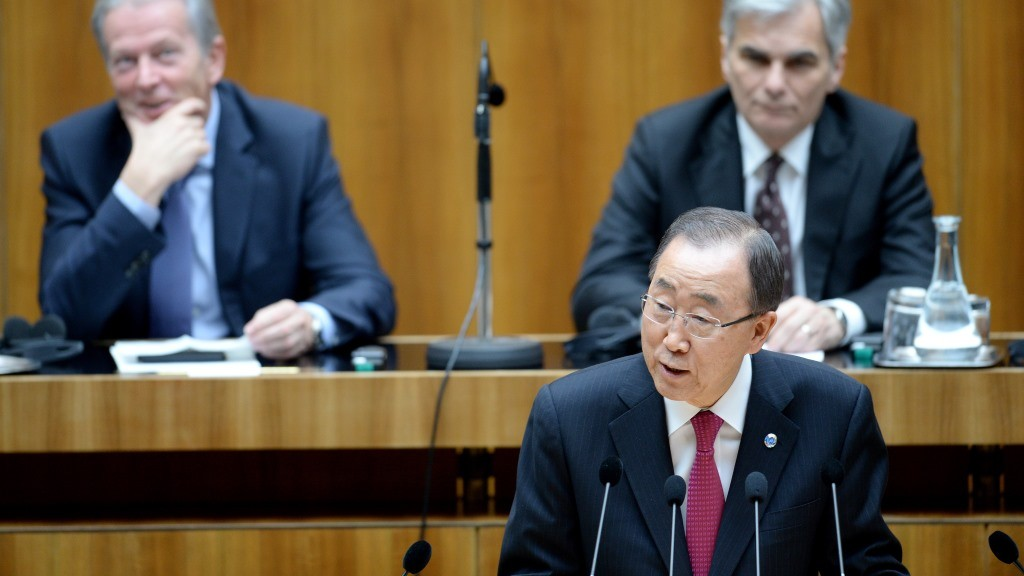 """Secretary-General of the United Nations Ban Ki-moon gives speech to the Austrian national assembly at parliament in Vienna on April 28, 2016. UN chief Ban Ki-moon hit out at what he called """"increasingly restrictive"""" refugee policies in Europe as the continent faces its worst migrant crisis in decades. / AFP PHOTO / APA / ROLAND SCHLAGER / Austria OUT"""