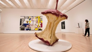 """An art piece called """"Geometric Apple Core"""" by Claes Oldenburg and Coosje van Bruggen, is seen inside the San Francisco Museum of Modern Art (SFMOMA) in San Francisco, California on April 28, 2016.  The newly redesigned museum integrates a 10-story expansion in a new building and will open to the public on May 14, 2016.  / AFP PHOTO / Josh Edelson / RESTRICTED TO EDITORIAL USE - MANDATORY MENTION OF THE ARTIST UPON PUBLICATION - TO ILLUSTRATE THE EVENT AS SPECIFIED IN THE CAPTION"""