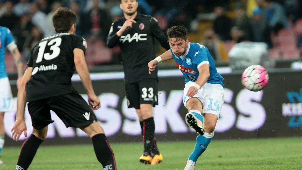 Napoli's player Mertens during the Italian Serie A football match between SSC Napoli and FC Bologna at San Paolo Stadium in Naples on April 19; 2016. PH. CONTROLUCE/ PIETRO MOSCA