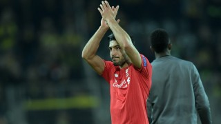 Liverpool's Emre Can  applaudes the fans after the  the Europa League knock out quarter finals between Borussia Dortmund vs FC Liverpool in Dortmund, Germany, 7 April 2016.  Photo: Federico Gambarini/dpa
