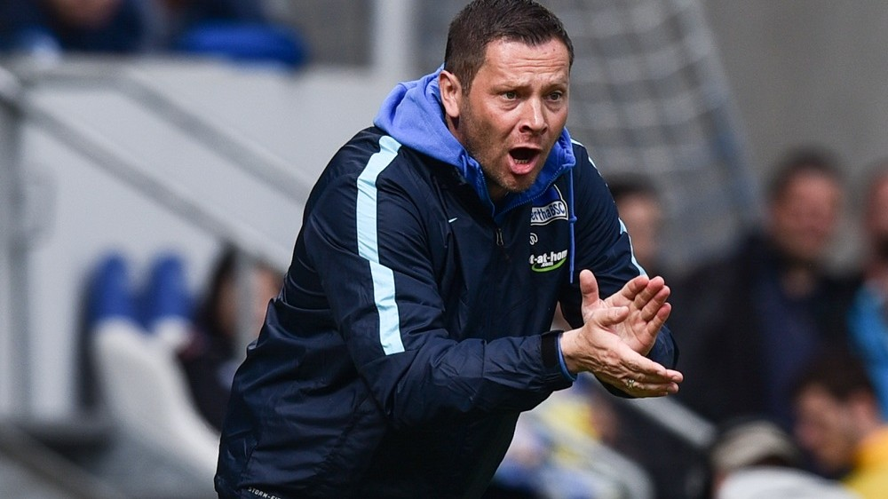 Berlin's head coach Pal Dardai reacts during the German Bundesliga soccer match between TSG 1899 Hoffenheim and Hertha BSC Berlin at Rhein-Neckar-Arena in Sinsheim, Germany, 16 April 2016. PHOTO: UWE ANSPACH/dpa  (EMBARGO CONDITIONS - ATTENTION: Due to the accreditation guidlines, the DFL only permits the publication and utilisation of up to 15 pictures per match on the internet and in online media during the match.)