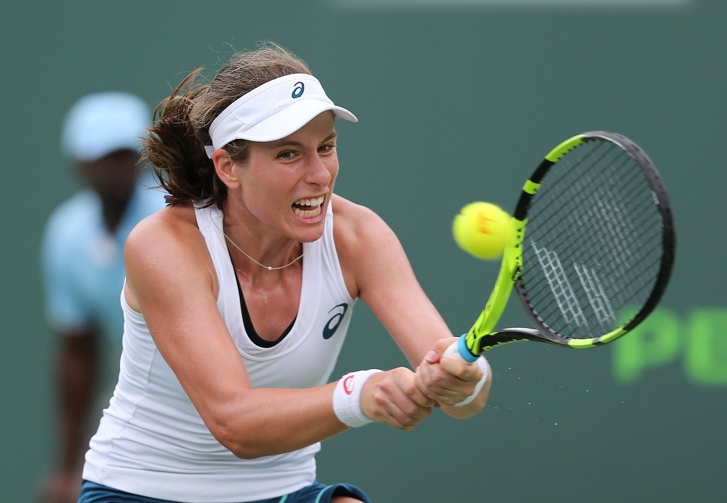 Victoria Azarenka defeats Great Britain's Johanna Konta (picture) in Straight Sets in The Quarter Final during the Miami Open, at the Crandon Park Tennis Center on Key Biscayne, Florida, USA, on March 30, 2016 - Photo Backpage Images / DPPI