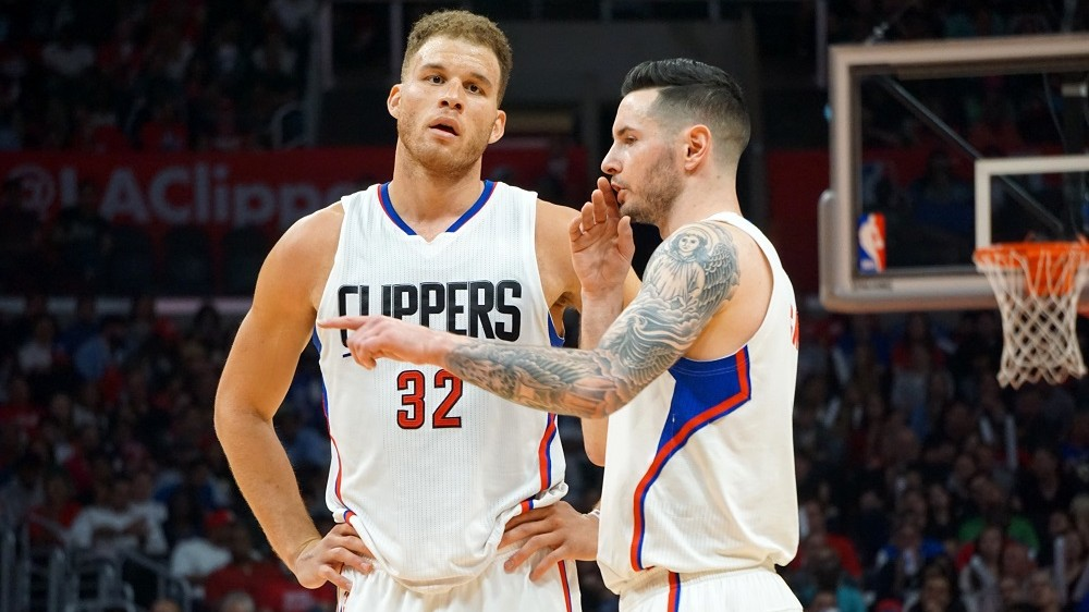 LOS ANGELES, UNITED STATES - APRIL 03:  Blake Griffin (32) and J.J. Redick of LA Clippers gesture during an NBA game between Los Angeles Clippers vs Washington Wizards at Staples Center, Los Angeles , CA, USA on April 03, 2016. Mintaha Neslihan Eroglu / Anadolu Agency