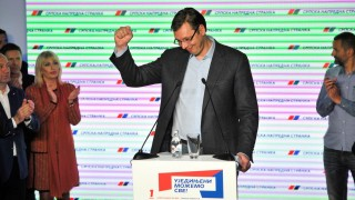 BELGRADE, SERBIA - APRIL 24 : Serbian Prime Minster Aleksandar Vucic gives a speech during a press conference at the Serbian Progressive Party headquarters in Belgrade on April 24, 2016 after the general elections. PM Aleksandar Vucic announce his victory regard to the unofficial results of the April 24 general election. Samir Yordamovic / Anadolu Agency