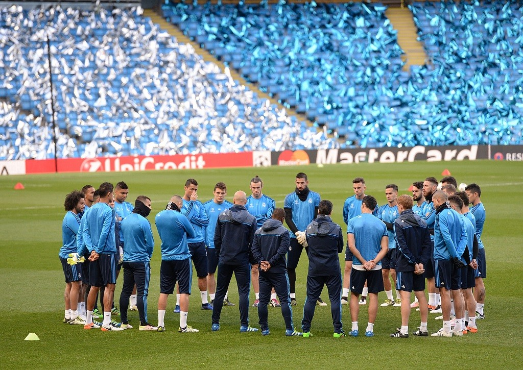MANCHESTER, UNITED KINGDOM - APRIL 25: Players of Real Madrid attend training session prior to the UEFA Champions League semi-final match at the Etihad Stadium in Manchester, United Kingdom on April 25, 2016. Howard Walker / Anadolu Agency