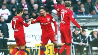during the Bundesliga match between VfB Stuttgart and Bayer Leverkusen at Mercedes-Benz Arena on March 20, 2016 in Stuttgart, Germany.