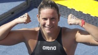 Kazany, 2015. július 28. Risztov Éva a nyíltvízi úszók 10 kilométeres versenyében a kazanyi vizes világbajnokságon 2015. július 28-án. A magyar versenyzõ a 10. helyen végzett, és kvótát szerzett a riói ötkarikás játékokra. MTI Fotó: Kovács Anikó