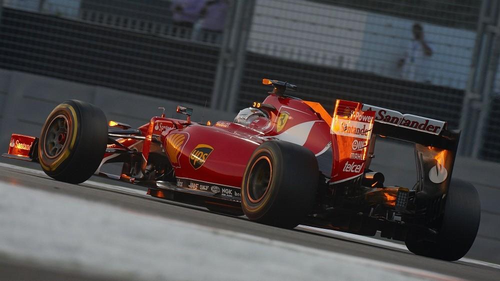Sebastian Vettel of Germany drives the #5 Scuderia Ferrari SF15 T Ferrari 059/3 turbo (Shell GP) during the Abu Dhabi Formula One Grand Prix at the Yas Marina Circuit on 29 November  2015 in Abu Dhabi, United Arab Emirates. (Photo by Rainer W. Schlegelmilch/Getty Images)