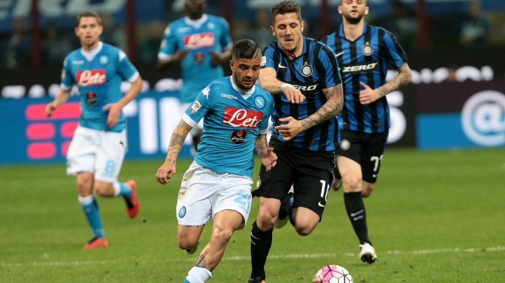 Napoli's player Insigne vies with Inter's player Jovetic during the Italian Serie A football match between FC Inter and SSC Napoli at San Siro Stadium in Milan on April 16, 2016. PH. CONTROLUCE/ PIETRO MOSCA