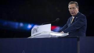 Washington, 2016. március 22. A republikánusok elnökjelöltségért küzdõ John Kasich ohiói kormányzó felszólal az egyik legbefolyásosabb Izrael-barát amerikai lobbiszervezet éves konferenciáján, az Amerikai-Izraeli Közpolitikai Bizottság (AIPAC) washingtoni rendezvényének második napján, 2016. március 21-én. (MTI/EPA/Shawn Thew)