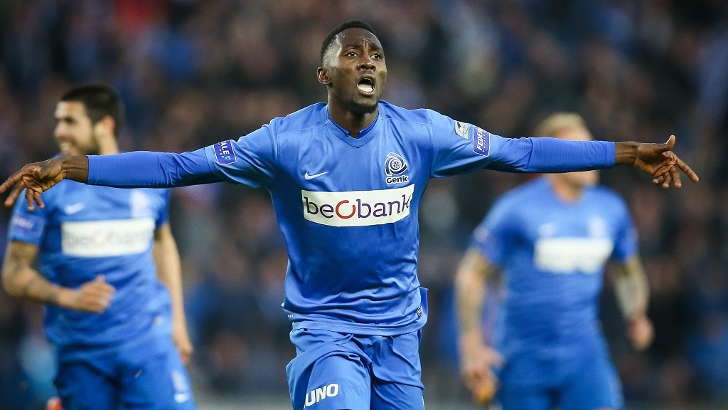 Genk's Wilfried Ndidi celebrates after scoring during the Jupiler Pro League match between RC Genk and Club Brugge, in Genk, Wednesday 20 April 2016, on day 4 of the Play-off 1 of the Belgian soccer championship. BELGA PHOTO BRUNO FAHY