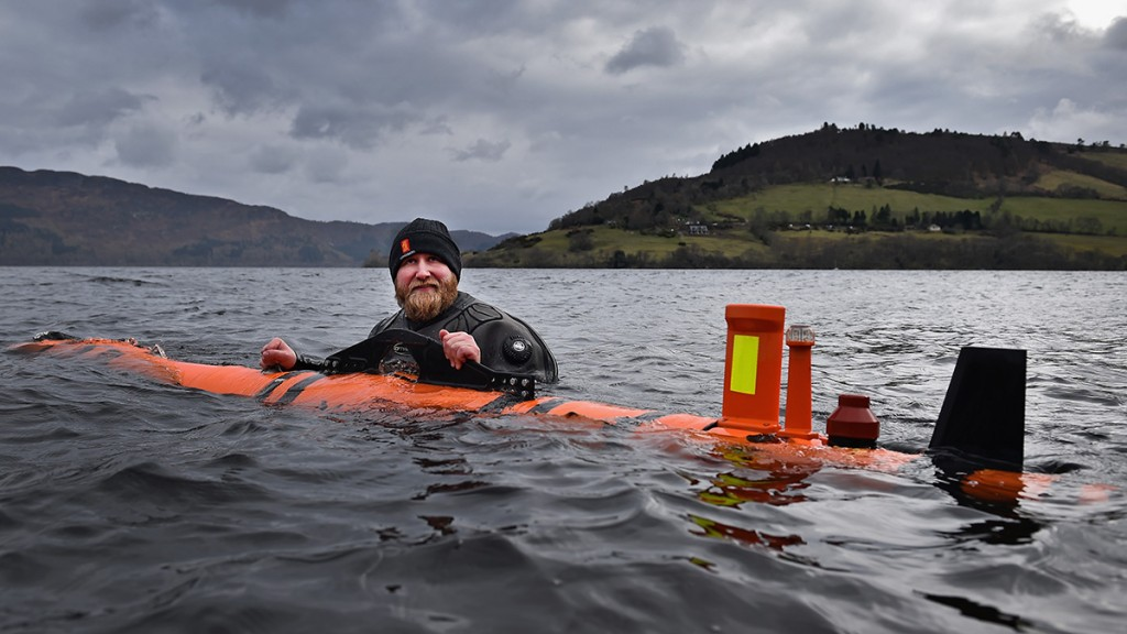 DRUMNADROCHIT, SCOTLAND - APRIL 13: John Haig an engineer moves a Munin robot, operated by Norwegian company Kongsberg Maritime in Loch Ness on April 13, 2016 in Drumnadrochit, Scotland The Norwegian company Kongsberg, which has been surveying the loch came across remains  of  a thirty metre model of the Loch Ness Monster, from the 1970 film The Private Life of Sherlock Holmes, discovered down on the loch bed by the underwater robot.  (Photo by Jeff J Mitchell/Getty Images)
