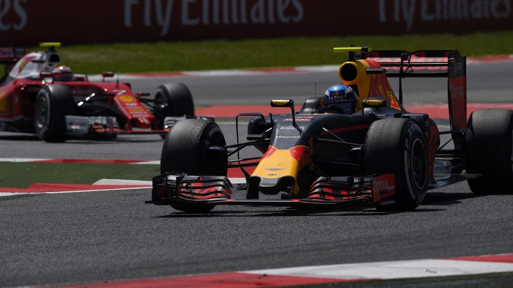 Infiniti Red Bull racing's Belgian-Dutch driver Max Verstappen drives at the Circuit de Catalunya on May 15, 2016 in Montmelo on the outskirts of Barcelona during the Spanish Formula One Grand Prix. / AFP PHOTO / LLUIS GENE