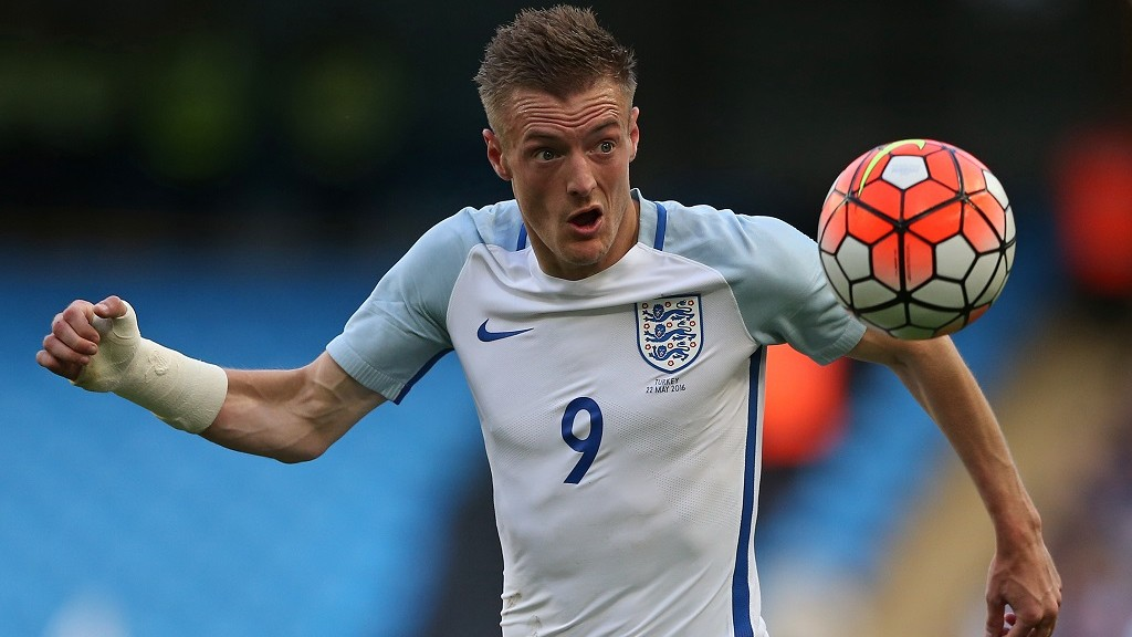 England's striker Jamie Vardy controls the ball during the friendly football match between England and Turkey at the Etihad Stadium in Manchester, north west England, on May 22, 2016. England won the match 2-1. / AFP PHOTO / Scott Heppell / NOT FOR MARKETING OR ADVERTISING USE / RESTRICTED TO EDITORIAL USE