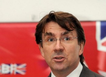 Newly-appointed British Ambassador to Bahrain Iain Lindsay speaks at the Bahrain British Business Forum on September 19, 2011. AFP PHOTO/PHIL WEYMOUTH